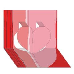 Red and pink lines Heart 3D Greeting Card (7x5)