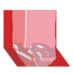 Red and pink lines LOVE Bottom 3D Greeting Card (7x5)