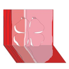 Red and pink lines Clover 3D Greeting Card (7x5)