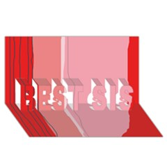 Red and pink lines BEST SIS 3D Greeting Card (8x4)