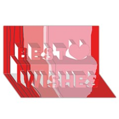 Red and pink lines Best Wish 3D Greeting Card (8x4)