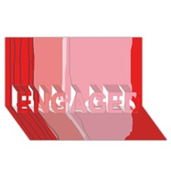 Red And Pink Lines Engaged 3d Greeting Card (8x4)