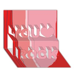 Red and pink lines You Rock 3D Greeting Card (7x5)