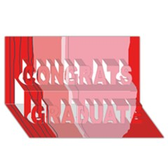 Red and pink lines Congrats Graduate 3D Greeting Card (8x4)