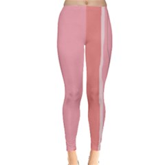 Red and pink lines Leggings