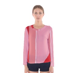 Red and pink lines Women s Long Sleeve Tee