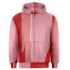 Red and pink lines Men s Zipper Hoodie