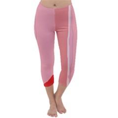Red and pink lines Capri Winter Leggings