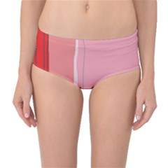 Red and pink lines Mid-Waist Bikini Bottoms