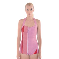 Red and pink lines Boyleg Halter Swimsuit