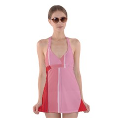 Red and pink lines Halter Swimsuit Dress