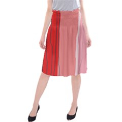 Red and pink lines Midi Beach Skirt