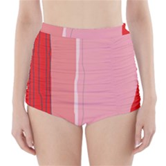 Red and pink lines High-Waisted Bikini Bottoms