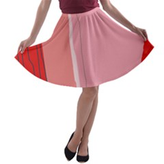 Red and pink lines A-line Skater Skirt