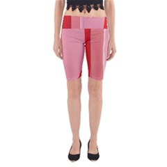 Red And Pink Lines Yoga Cropped Leggings