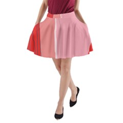 Red and pink lines A-Line Pocket Skirt