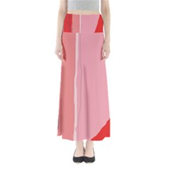 Red and pink lines Maxi Skirts