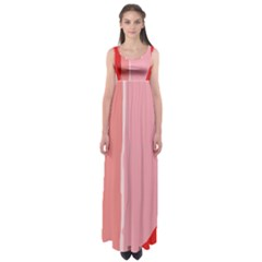 Red and pink lines Empire Waist Maxi Dress