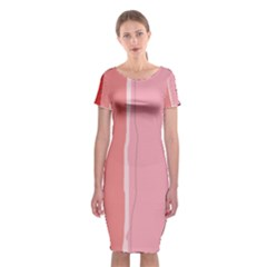Red and pink lines Classic Short Sleeve Midi Dress
