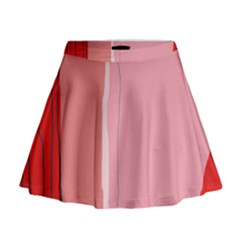 Red and pink lines Mini Flare Skirt