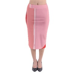 Red and pink lines Midi Pencil Skirt