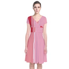 Red And Pink Lines Short Sleeve Front Wrap Dress
