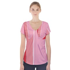 Red and pink lines Short Sleeve Front Detail Top