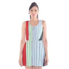 Decorative Lines Scoop Neck Skater Dress