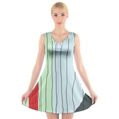 Decorative Lines V Neck Sleeveless Skater Dress
