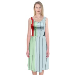 Decorative lines Midi Sleeveless Dress