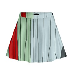 Decorative lines Mini Flare Skirt