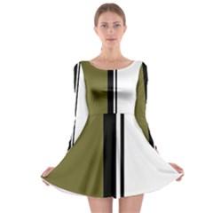 Elegant lines Long Sleeve Skater Dress
