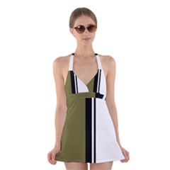 Elegant lines Halter Swimsuit Dress