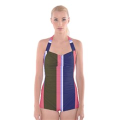 Decorative Lines Boyleg Halter Swimsuit