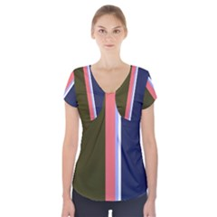 Decorative lines Short Sleeve Front Detail Top