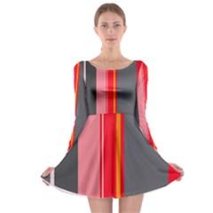 Optimistic lines Long Sleeve Skater Dress