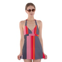 Optimistic lines Halter Swimsuit Dress