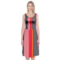 Optimistic lines Midi Sleeveless Dress