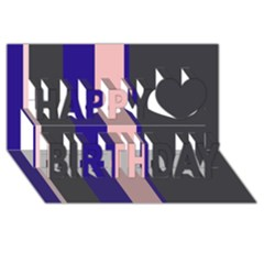 Purple, pink and gray lines Happy Birthday 3D Greeting Card (8x4)