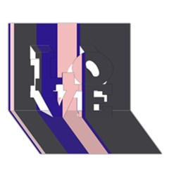 Purple, pink and gray lines LOVE 3D Greeting Card (7x5)