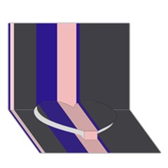 Purple, pink and gray lines Heart Bottom 3D Greeting Card (7x5)