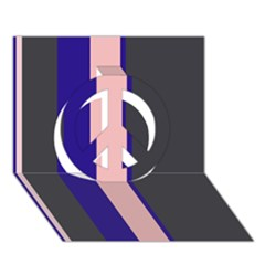 Purple, pink and gray lines Peace Sign 3D Greeting Card (7x5)