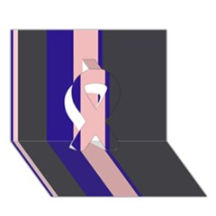 Purple, pink and gray lines Ribbon 3D Greeting Card (7x5)
