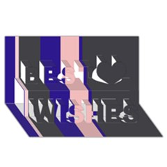 Purple, pink and gray lines Best Wish 3D Greeting Card (8x4)