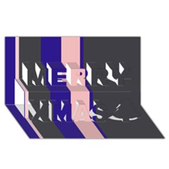 Purple, pink and gray lines Merry Xmas 3D Greeting Card (8x4)