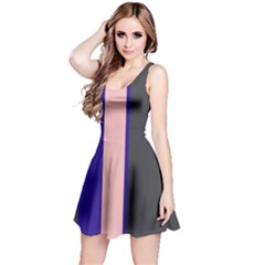 Purple, pink and gray lines Reversible Sleeveless Dress