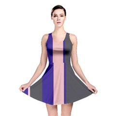 Purple, pink and gray lines Reversible Skater Dress