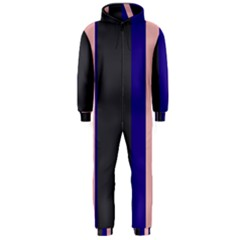 Purple, pink and gray lines Hooded Jumpsuit (Men)