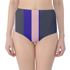 Purple, pink and gray lines High-Waist Bikini Bottoms