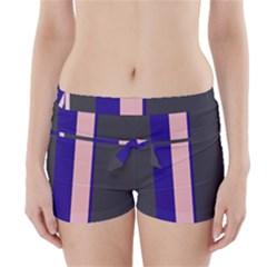 Purple, pink and gray lines Boyleg Bikini Wrap Bottoms